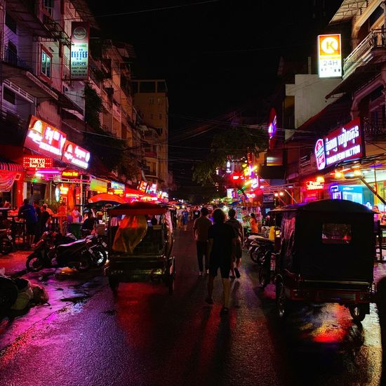 Phnompenh Night EyeEmNewHere Cambodian Culture Cambodia Asian  Nightlife Neon Lights City Night Building Exterior Illuminated Architecture Built Structure Street City Life Neon
