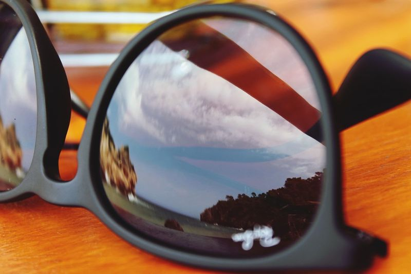Sommerglas Glass Sunglasses Bay Beach Rayban Vacations Summertime Summer Sunlight Sun Outdoors Reflection No People Side-view Mirror Close-up Technology Day Sky