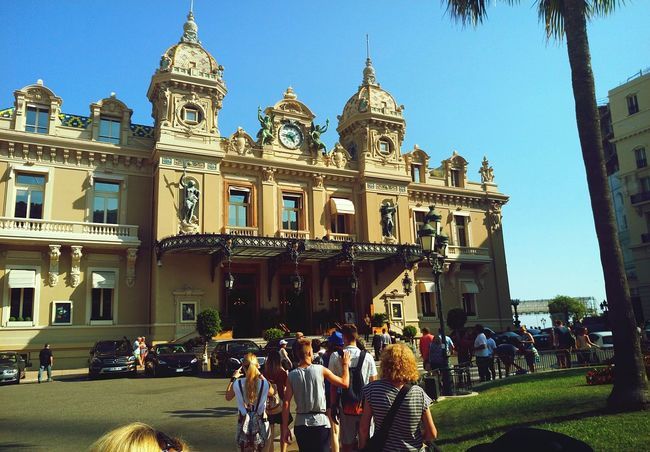 Monte Carlo Monaco Casino Royale People Large Group Of People Outdoors Travel Destinations City Sky Architecture Building Exterior Clock Tower Horizontal Day Historical Place