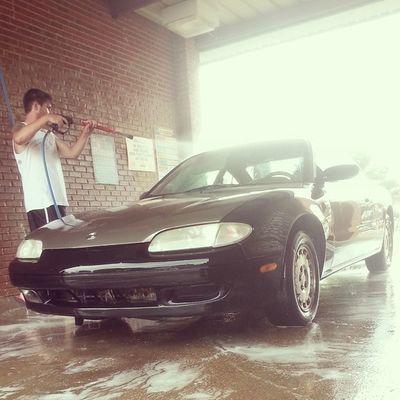 Hunter takin' care of ole faithful today (: Mazda Zoomzoom NeedsMoarLow Mx6 TheTransformation OleFaithful