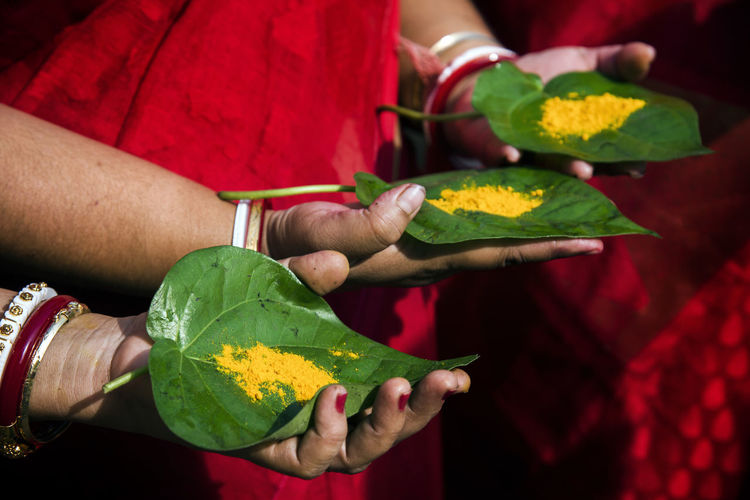 Close-Up Of Women Hands Holding Ground Turmeric On Leaves During Praying