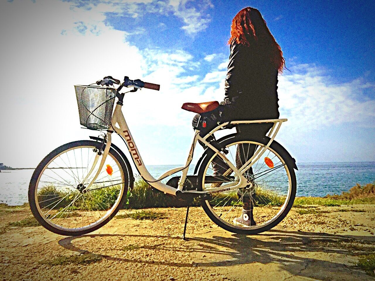 bicycle, transportation, sky, mode of transport, land vehicle, outdoors, day, real people, one person, nature, people