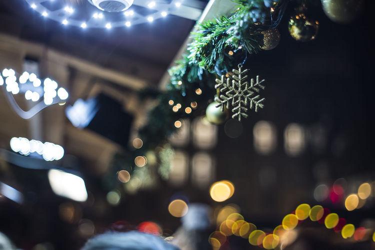 Defocused image of christmas tree at night