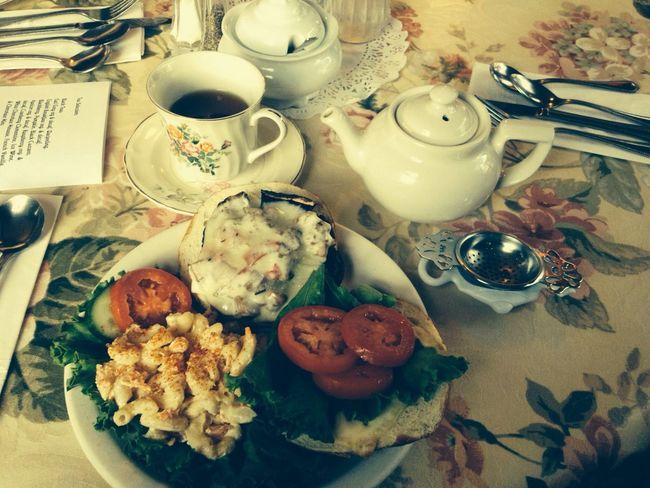 Mushroom burger and tea. Oh so good