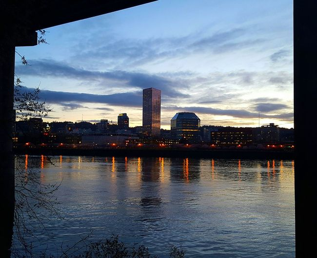 I was under a bridge on the esplanade. I got a natural frame from the bridge. Check This Out Under The Bridge Portland Portland Waterfront Sky And Clouds Sky_collection Cityscapes City View  Willamette River  Reflection_collection