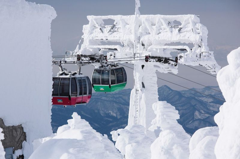 Overhead Cable Cars In Winter
