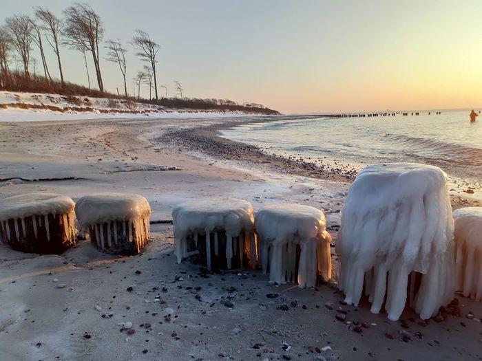 Cold Temperature Outdoors Water Sky Beach Winter Snow Ice Frozen Water Coastline Ocean Seascape