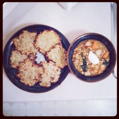 Dinner! It was a fusion of european and indian and a little bit of canadian. Potato latkes which are one of my favourites, I like them with maple syrup. I baked them instead of frying them which I'm very happy worked out. And we had lentil barley soup topped with vegan sour cream. Strange combo but it worked! Latkes Potatolatkes Potato Soup barley lentil soup fusion vegan veganism whatveganseat vegansofinstagram vegansofig veganfoodshare dinner dinnertime homemade omnomnom