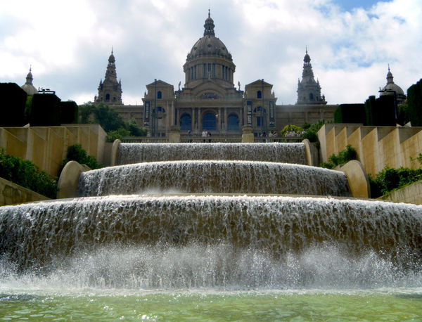 Arrival, Museu Nacional a'Art de Catalunya Barcelona Low Angle View Museu Nacional A'Art De Catalunya SPAIN Travel Photography Architecture Building Exterior Built Structure City Trip Cloud - Sky Day Fountain History Motion Nature No People Outdoors Sky Splashing Spraying Travel Destinations Tree Upshot Water Waterfall