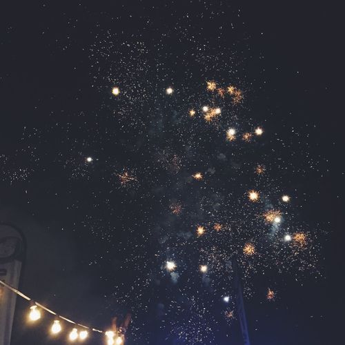 Night Sky Firework Low Angle View Outdoors Nature