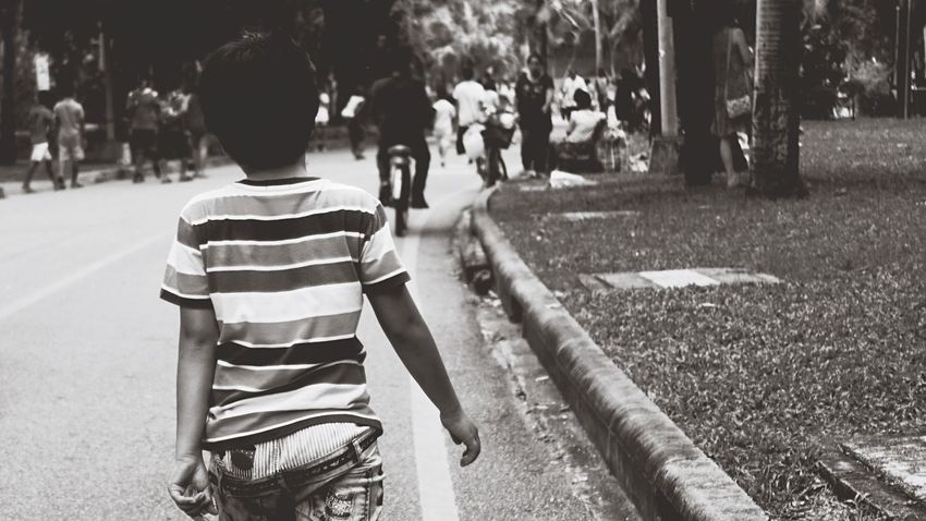 Back side of the future Hanging Out At The Park Pubic Park Exercise Jogging Walking Walking Alone... Youth Kid Childhood Boyhood Confident  Walk With Confident Musculine Urban Black And White Bangkok Children's Day Back Backside Portrait The Street Photographer - 2017 EyeEm Awards