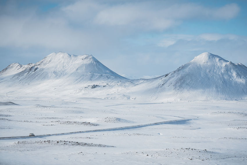 Winter road Iceland Road Traveling Beauty In Nature Car Cloud - Sky Cold Temperature Day Environment Idyllic Landscape Mountain Mountain Peak Mountain Range Non-urban Scene North Iceland Scenics - Nature Sky Snow Snowcapped Mountain Tranquil Scene Tranquility White Color Winter Winter Wonderland
