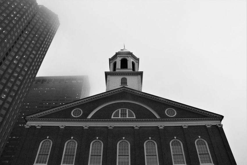 Architecture Architeture - Old And New Blackandwhite Boston Building Exterior Foggy Gloomy Juxtaposition Looking Up Low Angle View Skewed