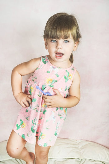Little Girl Childhood Kid Toddler  Females Portrait Lovely Model Pink Color Dress Cute Adorable Funny Fun Expression Studio Shot Hanging Out Happiness Child Children Infancy Lifestyles Style Blond Hair