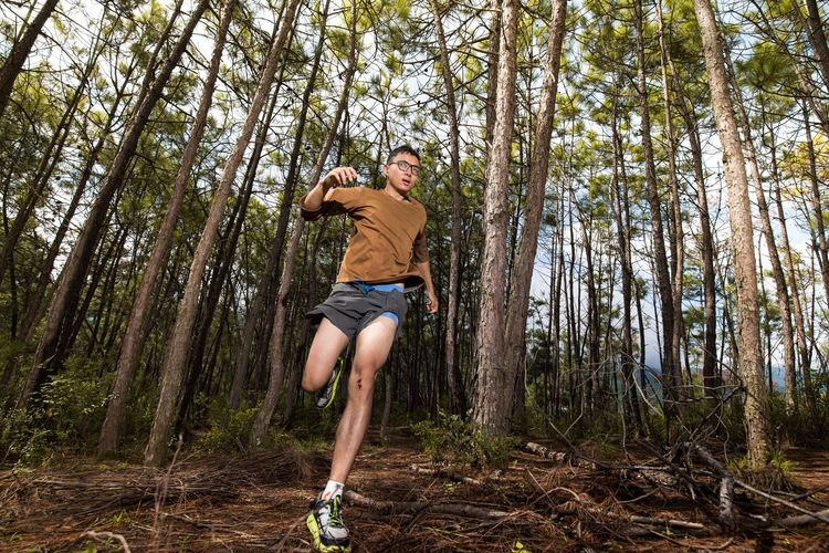 Low angle view of man jumping in forest