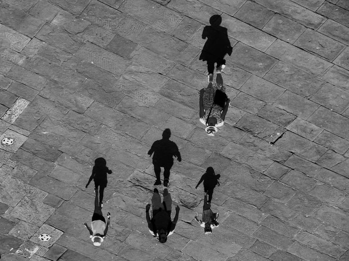 Birdeyeview Black And White Blackandwhite High Angle View Lifestyles Opaque Outdoors People Perspective Shadow Shadow And Light Walking The Photojournalist - 2017 EyeEm Awards