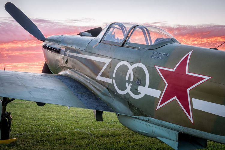 Yak-9 Sunset at Oshkosh 2016 Aircraft Airplanes Airventure Fighter Flying Fuji Xpro1 OshKosh Russian Airpla WWII Yak-9