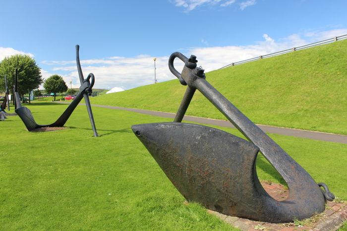 Anchors on display at Largs Marina Anchor Ayrshire Ayrshire, Scotland Footpath Maritime Outdoors Scenics Sky