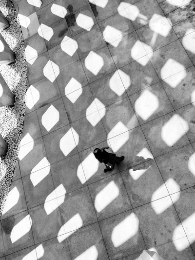 Monochrome Photography High Angle View Road Directly Above Street Day Outdoors Geometric Shape Person Personal Perspective Architecture EyeEm Best Shots Blackandwhite Photography