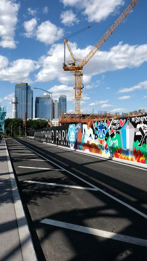 The way to anywhere. Street Road Fuji Xt20 Photography Sunlight And Shadow Landscape Outdoors Colorful Crane City Cityscape Multi Colored Sky Cloud - Sky Street Art Spray Paint Mural