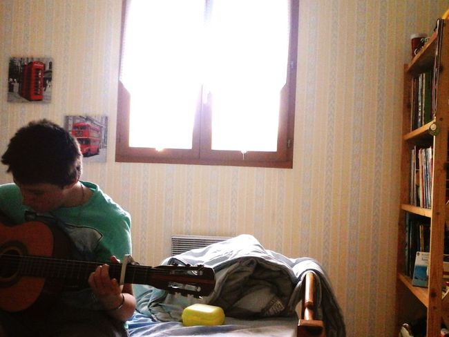 Playing guitar. Taking Photos Relaxing Enjoying Life Hanging Out Hello World That's Me Hi! Cheese! Check This Out Photo Photography Mybedroom Myguitar  MyHOUSE