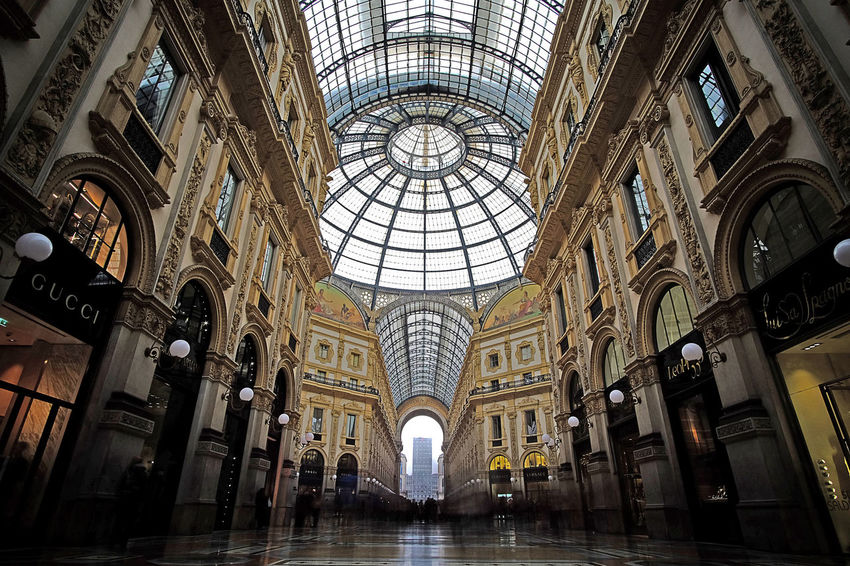 Milan Milano Shopping Arch Architectural Feature Architecture Built Structure Ceiling City Day Gallery History Indoors  Italy Long Exposure People Streetphotography Tourism Travel Destinations Wide Angle