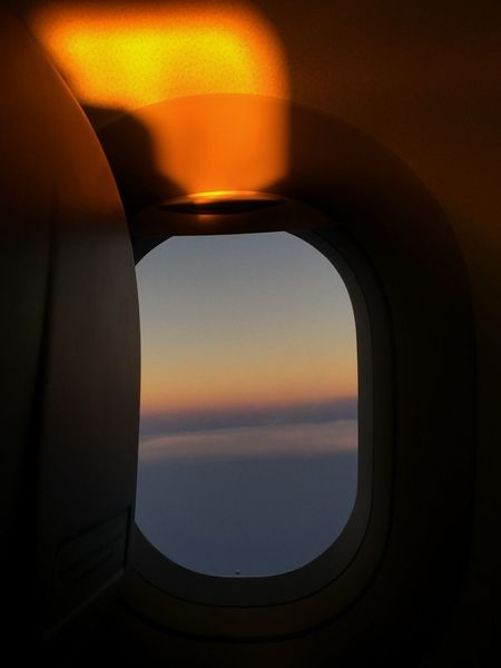 🌄 Beauty In Nature Shadow Cabin Onboard Light Travel Sunrise Flight #airplane Sky Sunset Window No People Nature Indoors  Sunlight Sun Air Vehicle Scenics - Nature