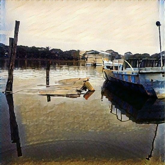 Boats Water Lake Reflection Wooden Post Vintage Prisma_Filter First Eyeem Photo