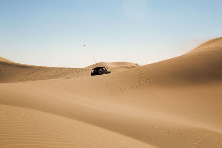 Arid Climate Beauty In Nature Clear Sky Day Desert Landscape Nature One Person Outdoors People Sand Sand Dune Scenics Sky
