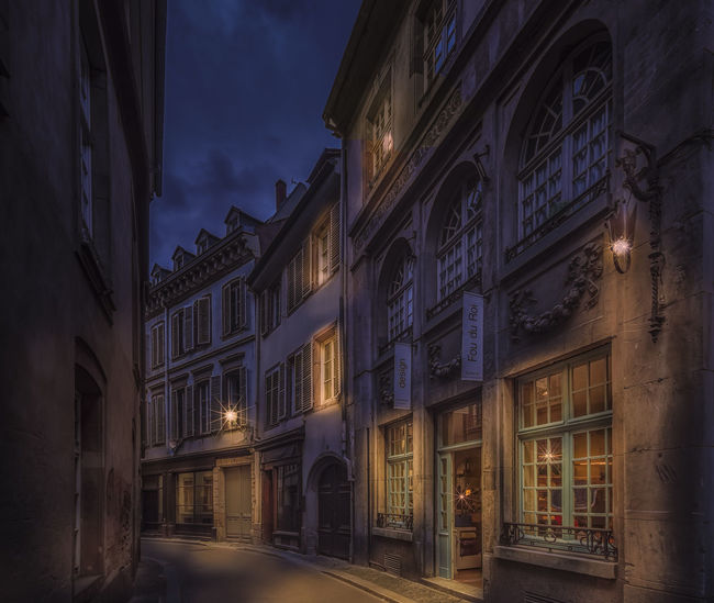 Rue de Faisan in Strasbourg Alsace France HUAWEI Photo Award: After Dark Haut-Rhin Strasbourg Architecture Building Building Exterior Built Structure City Direction Dusk History Illuminated Lighting Equipment Night No People Outdoors Residential District Rue De Faisan Sky Street Window EyeEmNewHere