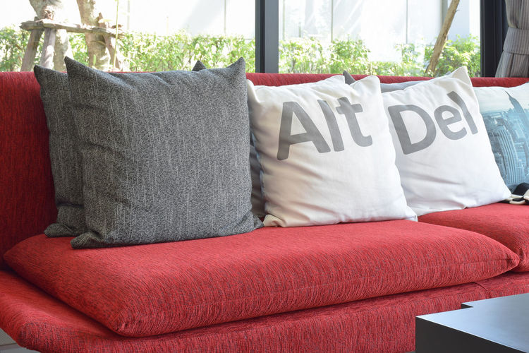 Text on sofa at home