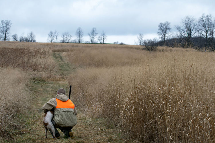 Agriculture Bird Dog Bird Hunting  Composition Day Farm Field Grass Grassy Hunting Landscape Outdoors Rural Scene Upland Game