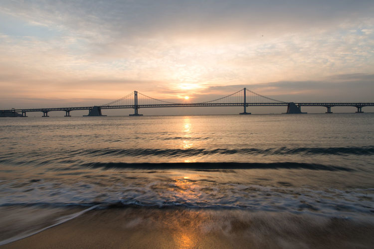 Sky Water Bridge Bridge - Man Made Structure Built Structure Sea Connection Sunset Suspension Bridge Transportation Engineering Architecture Nature Beauty In Nature Travel Destinations Scenics - Nature Cloud - Sky Tranquility Outdoors Bay