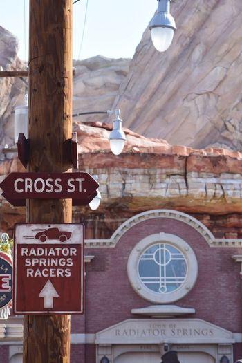 Cars Land Carsland  Californiaadventures Disneyland Text Communication Hanging No People Day Outdoors Mountain