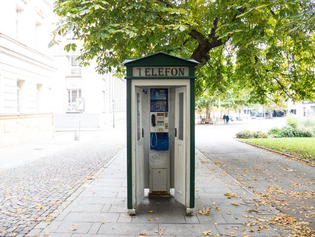 Where's Superman? Autumn Copy Space Fall Minimalism Old School Telephone Telephone Booth Time Travel Vintage