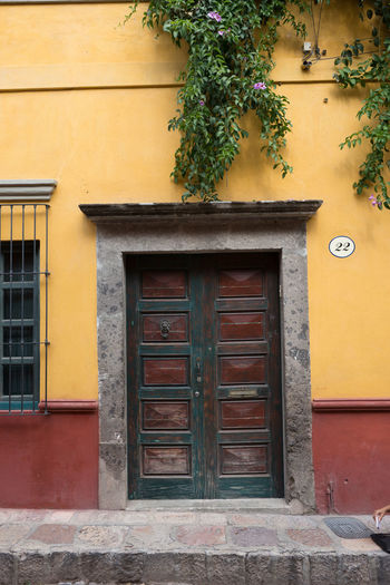 Pattern, Texture, Shape And Form Pattern Abstract Abstract Photography Door San Miguel De Allende Mexico Colorful Colors Geometric Shapes Streetphotography Street Photography Magic Moments Built Structure Architecture Building Exterior No People Day Outdoors Building Entrance Yellow Closed Window Plant House Wall Security Residential District Wood - Material Nature Wall - Building Feature