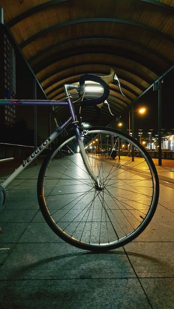 Bicycle Illuminated City Reflection Architecture Lifestyles Night Travel Destinations Built Structure Indoors  No People Cityscape Classic Bike Peugeot Bike Megapark Cyclephotography Vintage Bicycles Outdoors Retro Styled Peugeotlove