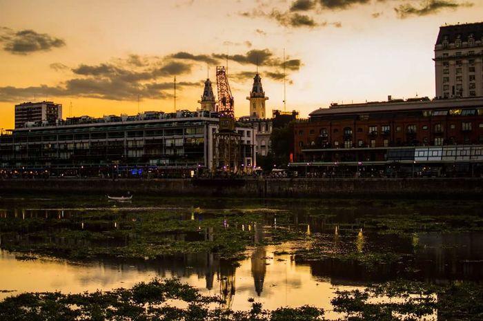 Harbour Puerto Afternoon Sunset Golden River Grua Crane