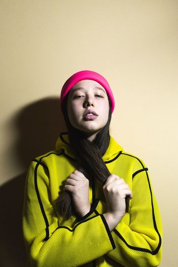 Contrasts Girl Beauty Fashion Pose Photography Art Model Attitude Fashion Photography Unique Love Outfit Detail Color Portrait Yellow Young Women Standing Cap Yellow Background Hooded Shirt Go Higher Stories From The City Inner Power EyeEmNewHere Visual Creativity