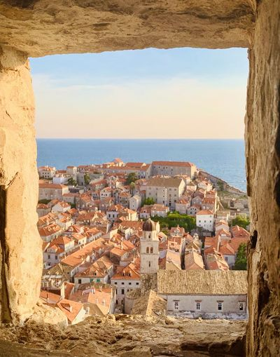 High angle view of dubrovnik old town during sunset
