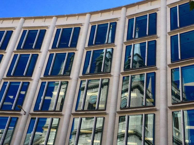 Reflecting Refelection  Reflections Reflection_collection Building Exterior Glass Building City Windows Windows Reflections Window Reflection Church Reflection Europe London Cityoflondon Blue Sky Background Glass Building Window Reflection Architecture_collection