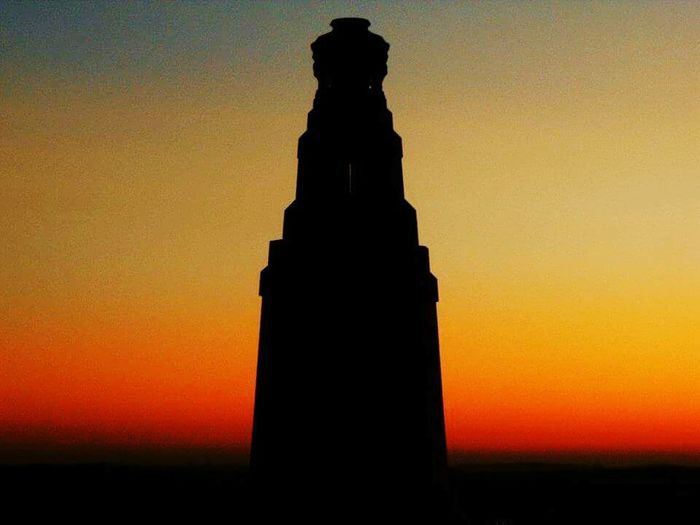 Dundee Law War Memorial Architecture Built Structure Silhouette Sunset Building Exterior Low Angle View Orange Color Clear Sky Sky Outdoors Dark Outline Sun High Section No People Dundee Law