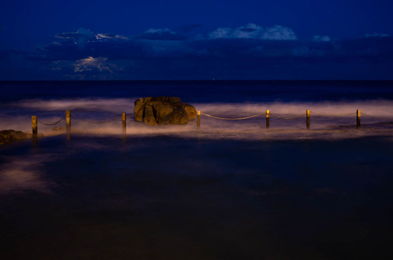 Beach Beauty In Nature Blue Cloud - Sky Environment Horizon Horizon Over Water Illuminated Land Nature Night No People Outdoors Scenics - Nature Sea Sky Sunset Tranquil Scene Tranquility Water