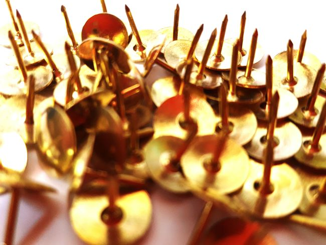 Thumbtacks Gold Sharp Small Objects Close Up Mobile Photography