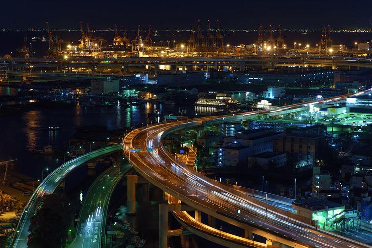 Architecture City City Life Cityscape Illuminated Lighttrails Long Exposure Night Road