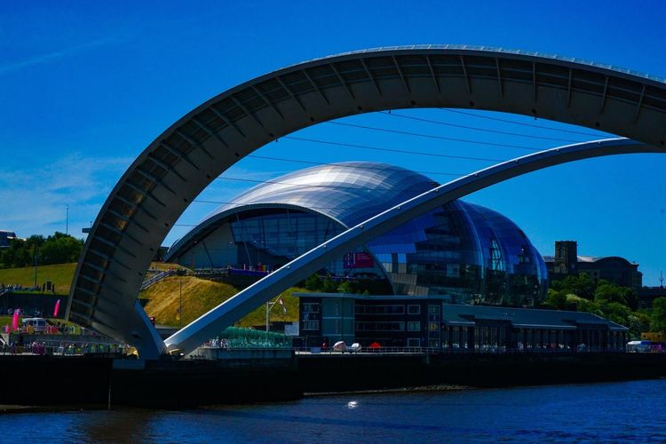 Blinking Bridge Millenium Bridge Newcastle Upon Tyne Gateshead The Sage Architecture Built Structure Water Building Exterior Sky Blue The Architect - 2018 EyeEm Awards