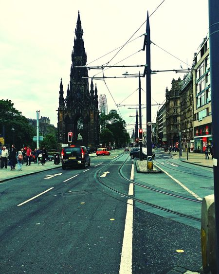 Car Road Travel Destinations Architecture City Street Bridge - Man Made Structure Transportation Street City Built Structure Sky Day Building Exterior Outdoors Edinburgh Princes Street Taxi EyeEmNewHere Eye4photography  Oneplus3 PhonePhotography Phone Scotland Tram City View