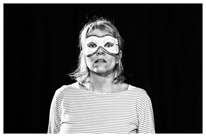Black Background Front View Headshot Mask Masked Masked Portrait One Person Portrait Real People Rehearsal Stage Theatre
