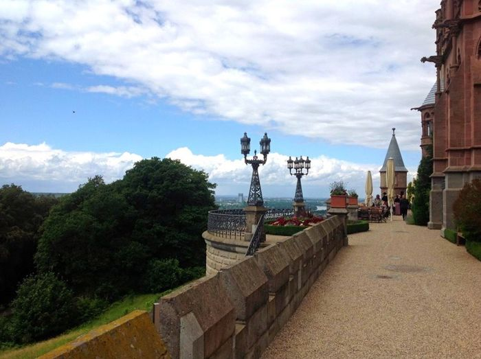 Germany Königswinter Siebengebirge Drachenfels Drachenschloss Architecture Built Structure Religion Building Exterior Spirituality Sky Place Of Worship Tree Cloud - Sky Church Footpath Cloud Temple - Building Walkway Pathway Lamp Post Pagoda Town Famous Place