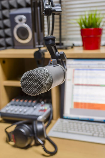 microphone in radio studio Brjadcasting Communication Microphone Mixing Podcast Radio Recording Studio Studio Technology